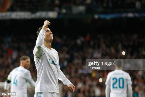 Cristiano Ronaldo of Real Madrid celebrates after scoring his team`s second goal during the UEFA Champions League Round of 16 First Leg match between...