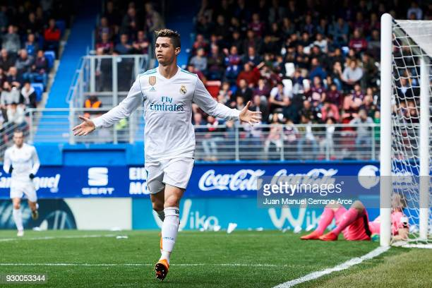 Cristiano Ronaldo of Real Madrid celebrates after scoring his team's second goal during the La Liga match between SD Eibar and Real Madrid at Ipurua...
