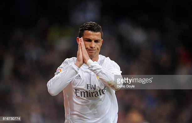 Cristiano Ronaldo of Real Madrid celebrates after scoring Real's 2nd goal during the La Liga match between Real Madrid CF and Sevilla FC at Estadio...