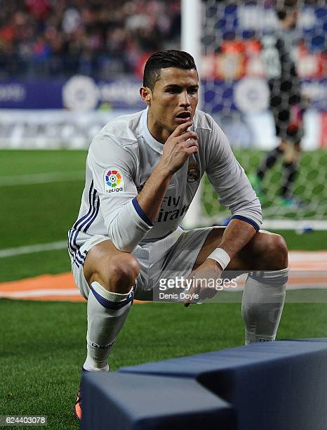 Cristiano Ronaldo of Real Madrid celebrates after scoring Real's 2nd goal during the La Liga match between Club Atletico de Madrid and Real Madrid CF...