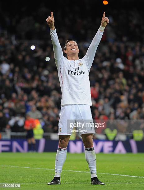 Cristiano Ronaldo of Real Madrid celebrates after scoring Real's 3rd goal during the La Liga match between Real Madrid CF and Celta Vigo at Estadio...