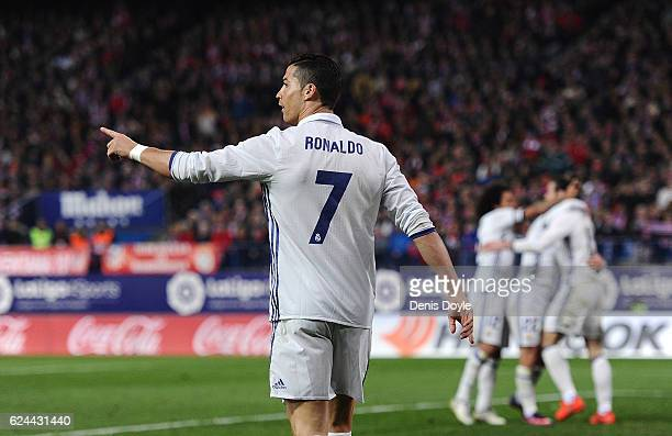 Cristiano Ronaldo of Real Madrid celebrates after scoring Real's 3rd goal during the La Liga match between Club Atletico de Madrid and Real Madrid CF...