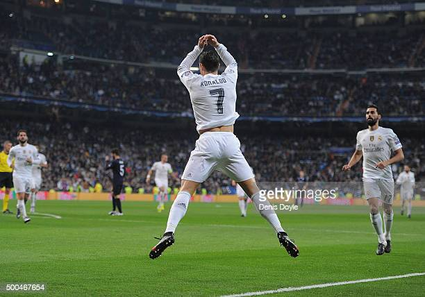 Cristiano Ronaldo of Real Madrid celebrates after scoring Real's 6th goal during the UEFA Champions League Group A match between Real Madrid CF and...
