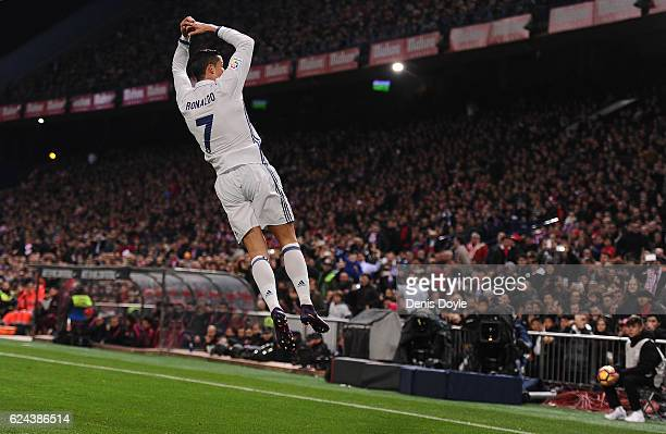 Cristiano Ronaldo of Real Madrid celebrates after scoring Real's first goal during the La Liga match between Club Atletico de Madrid and Real Madrid...