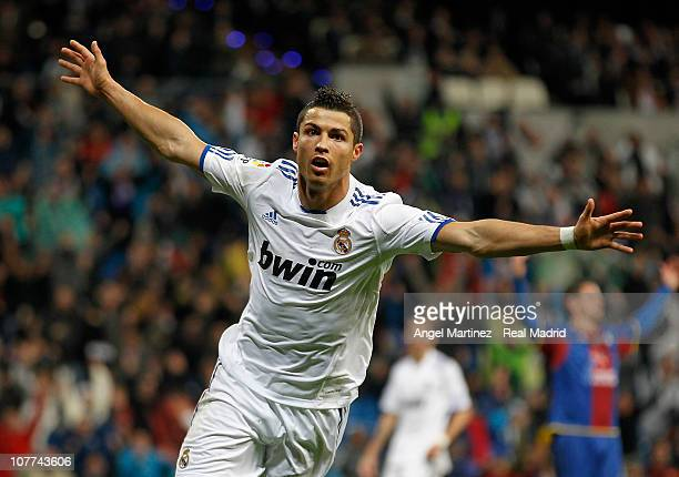 Cristiano Ronaldo of Real Madrid celebrates after scoring Real's seventh goal and his hattrick during the round of last 16 Copa del Rey match between...