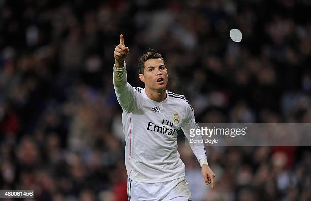 Cristiano Ronaldo of Real Madrid celebrates after scoring Real's opening goal during the La Liga match between Real Madrid CF and Celta Vigo at...