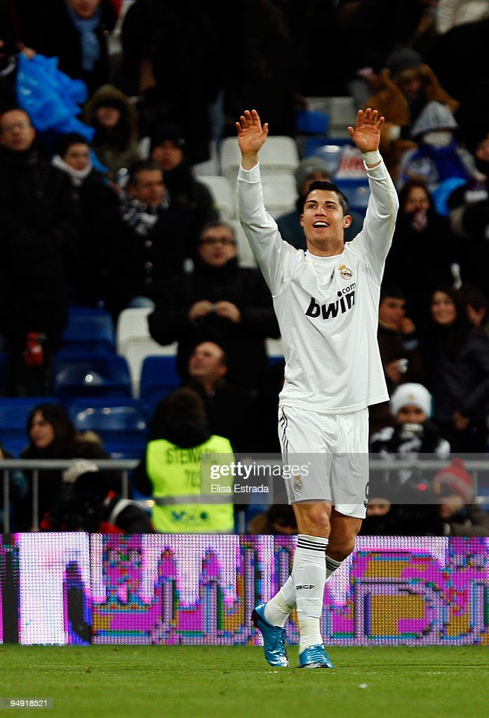 Cristiano Ronaldo of Real Madrid celebrates after scoring the 5:0 goal during the La Liga match between Real Madrid and Real Zaragoza at Estadio Santiago Bernabeu on December 19, 2009 in Madrid, Spain.