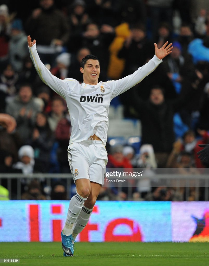 Cristiano Ronaldo of Real Madrid celebrates after scoring the 5:0 goal during the La Liga match between Real Madrid and Real Zaragoza at the Santiago Bernabeu stadium on December 19, 2009 in Madrid, Spain.