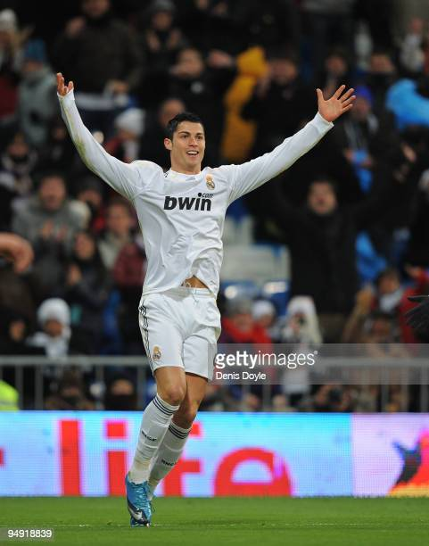 Cristiano Ronaldo of Real Madrid celebrates after scoring the 50 goal during the La Liga match between Real Madrid and Real Zaragoza at the Santiago...