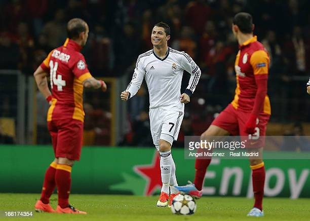 Cristiano Ronaldo of Real Madrid celebrates after scoring the opening goal during the UEFA Champions League quarterfinal second leg match between...