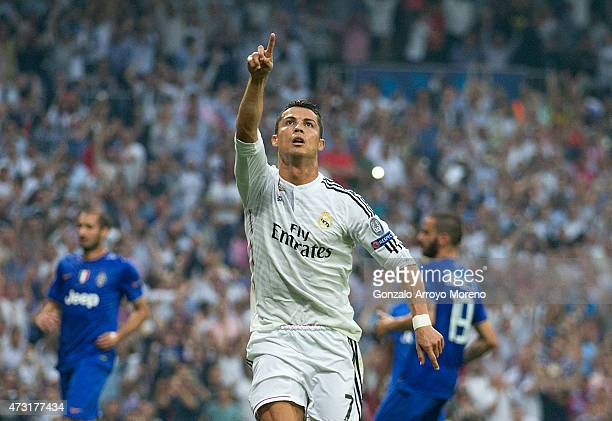 Cristiano Ronaldo of Real Madrid celebrates after scoring the opening goal from the penalty spot during the UEFA Champions League Semi Final second...
