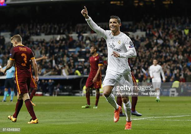 Cristiano Ronaldo of Real Madrid celebrates after scoring the opening goal during the UEFA Champions League Round of 16 Second Leg match between Real...