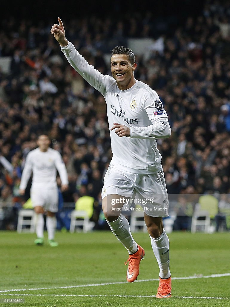 Cristiano Ronaldo of Real Madrid celebrates after scoring the opening goal during the UEFA Champions League Round of 16 Second Leg match between Real Madrid CF and AS Roma at Estadio Santiago Bernabeu on March 8, 2016 in Madrid, Spain.