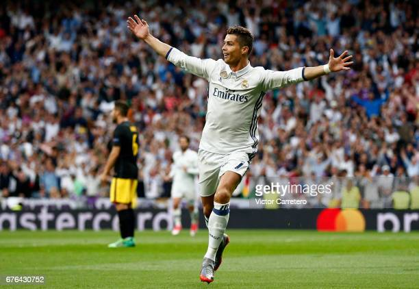Cristiano Ronaldo of Real Madrid celebrates after scoring the opening goal during the UEFA Champions League Semi Final first leg match between Real...