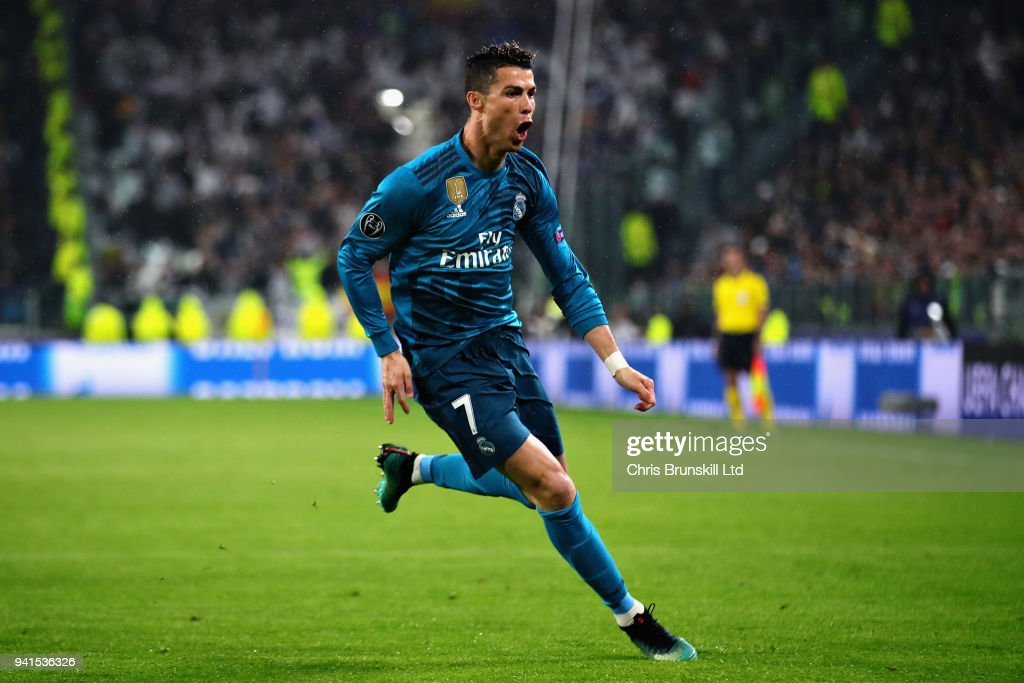 Cristiano Ronaldo of Real Madrid celebrates after scoring the opening goal during the UEFA Champions League Quarter Final, first leg match between Juventus and Real Madrid at Juventus Stadium on April 3, 2018 in Turin, Italy.