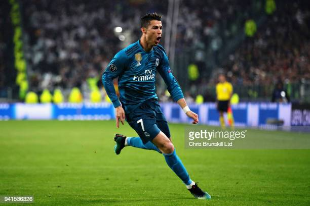 Cristiano Ronaldo of Real Madrid celebrates after scoring the opening goal during the UEFA Champions League Quarter Final first leg match between...
