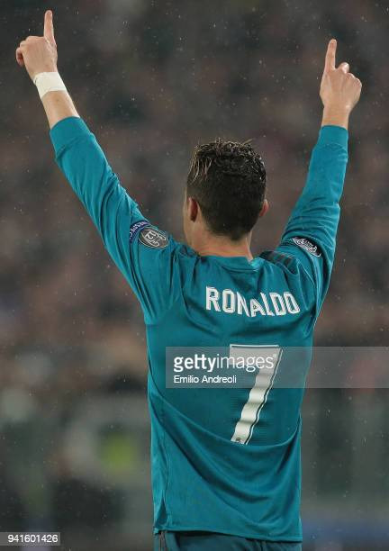 Cristiano Ronaldo of Real Madrid celebrates after scoring the opening goal during the UEFA Champions League Quarter Final Leg One match between...