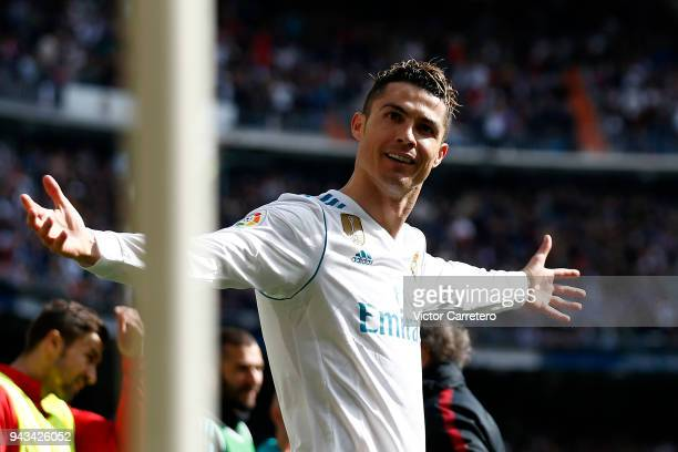 Cristiano Ronaldo of Real Madrid celebrates after scoring the opening goal during the La Liga match between Real Madrid and Atletico de Madrid at...