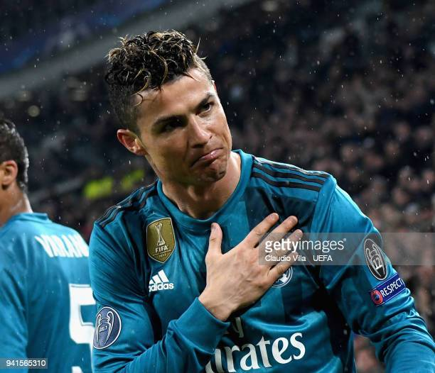 Cristiano Ronaldo of Real Madrid celebrates after scoring the second goal during the UEFA Champions Quarter Final Leg One match between Juventus and...