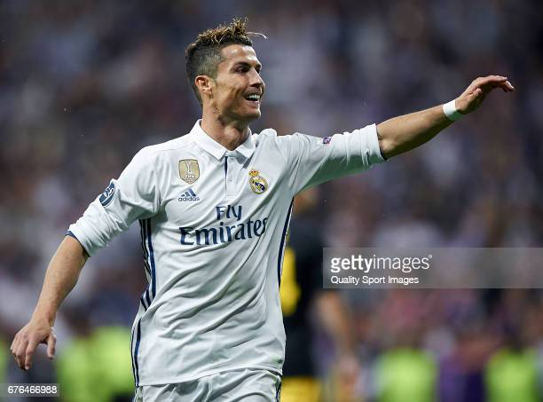 Cristiano Ronaldo of Real Madrid celebrates after scoring the third goal during the UEFA Champions League Semi Final first leg match between Real...