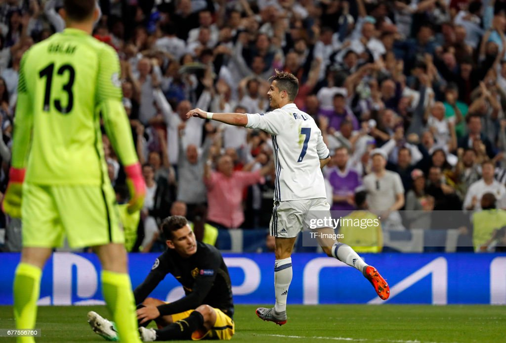 Cristiano Ronaldo of Real Madrid celebrates after scoring the third goal during the UEFA Champions League semi-final first leg match between Real Madrid CF and Club Atletico de Madrid at Estadio Santiago Bernabeu on May 2, 2017 in Madrid, Spain.
