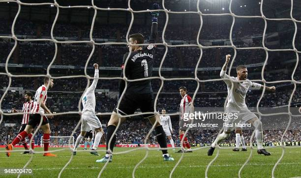 Cristiano Ronaldo of Real Madrid celebrates after scoring their equalising goal during the La Liga match between Real Madrid and Athletic Club at...