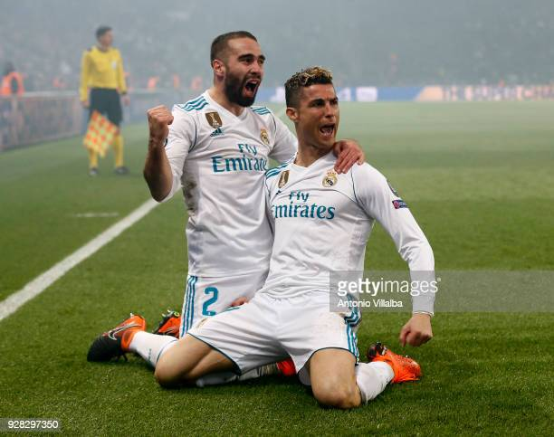 Cristiano Ronaldo of Real Madrid celebrates after scoring With Daniel Carvajal during the UEFA Champions League Round of 16 Second Leg match between...