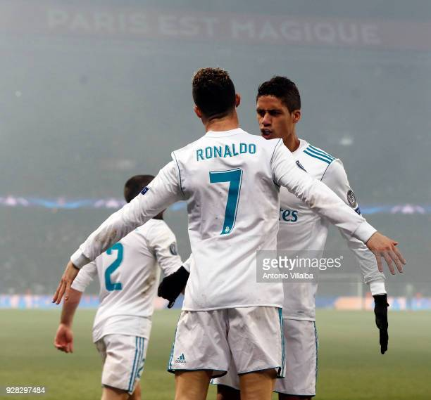 Cristiano Ronaldo of Real Madrid celebrates after scoring With Rafael Varane during the UEFA Champions League Round of 16 Second Leg match between...