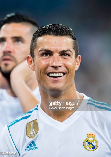 Cristiano Ronaldo of Real Madrid celebrates after the Santiago Bernabeu Trophy 2017 match between Real Madrid and ACF Fiorentina at the Santiago...