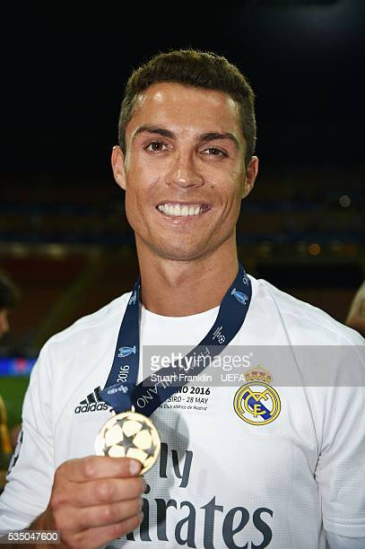 Cristiano Ronaldo of Real Madrid celebrates after the UEFA Champions League Final between Real Madrid and Club Atletico de Madrid at Stadio Giuseppe...