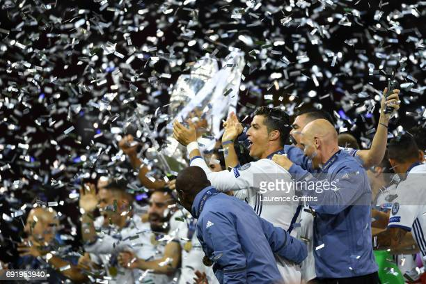 Cristiano Ronaldo of Real Madrid celebrates after the UEFA Champions League Final between Juventus and Real Madrid at National Stadium of Wales on...