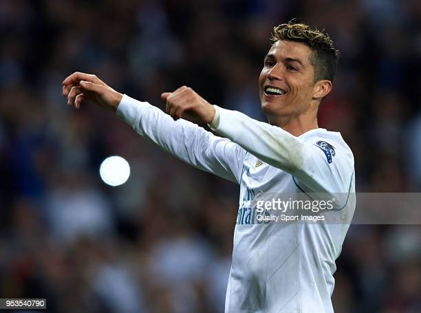 Cristiano Ronaldo of Real Madrid celebrates after the UEFA Champions League Semi Final Second Leg match between Real Madrid and Bayern Muenchen at...