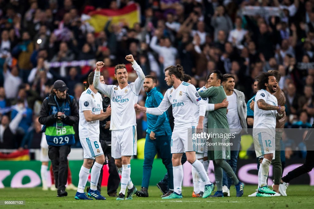 Cristiano Ronaldo of Real Madrid celebrates after the UEFA Champions League Semi Final Second Leg match between Real Madrid and Bayern Muenchen at the Bernabeu on May 1, 2018 in Madrid, Spain.