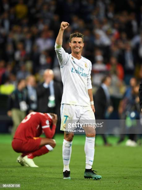 Cristiano Ronaldo of Real Madrid celebrates after the UEFA Champions League final between Real Madrid and Liverpool at NSC Olimpiyskiy Stadium on May...