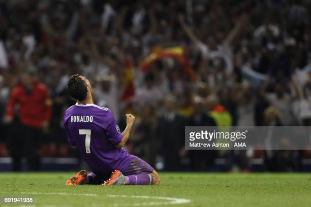 Cristiano Ronaldo of Real Madrid celebrates as the final whistle is blown during the UEFA Champions League Final between Juventus and Real Madrid at...