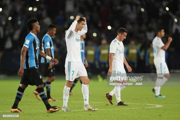 Cristiano Ronaldo of Real Madrid celebrates as the final whistle is blown during the FIFA Club World Cup UAE 2017 final match between Gremio and Real...