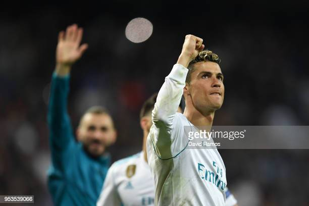 Cristiano Ronaldo of Real Madrid celebrates as they reach the final after the UEFA Champions League Semi Final Second Leg match between Real Madrid...