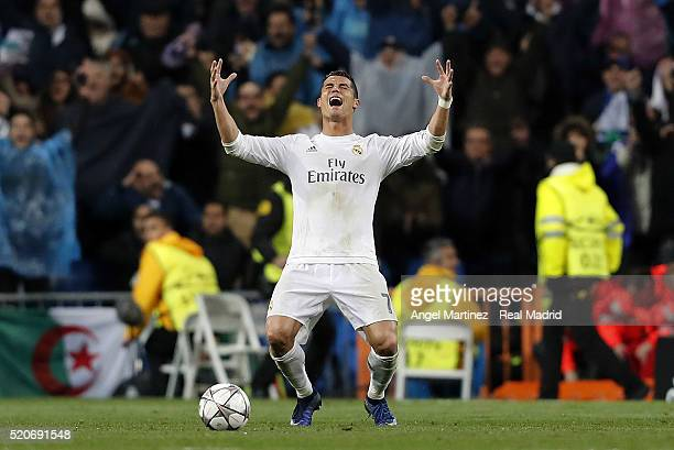 Cristiano Ronaldo of Real Madrid celebrates at the end of the UEFA Champions League quarter final second leg match between Real Madrid and VfL...