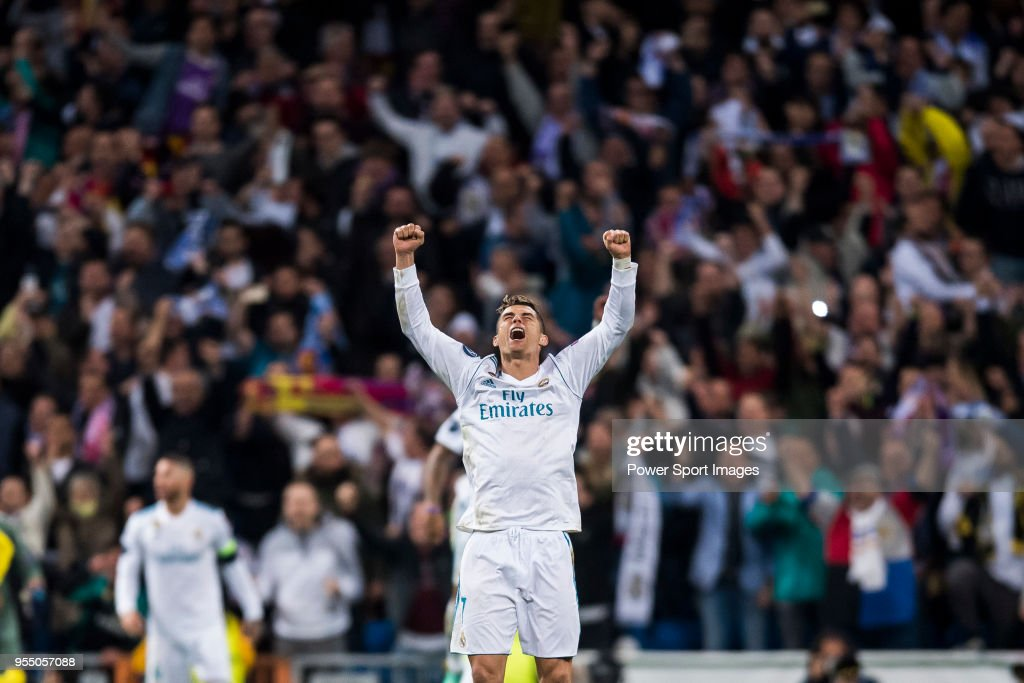 Cristiano Ronaldo of Real Madrid celebrates at the full time during the UEFA Champions League Semi Final Second Leg match between Real Madrid and Bayern Muenchen at the Bernabeu on May 1, 2018 in Madrid, Spain.