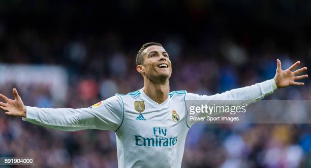 Cristiano Ronaldo of Real Madrid celebrates during the La Liga 201718 match between Real Madrid and Sevilla FC at Santiago Bernabeu Stadium on 09...