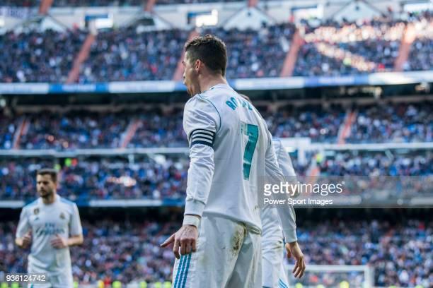 Cristiano Ronaldo of Real Madrid celebrates during the La Liga 201718 match between Real Madrid and Deportivo Alaves at Santiago Bernabeu Stadium on...