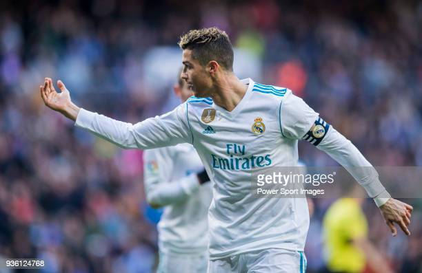 Cristiano Ronaldo of Real Madrid celebrates during the La Liga 201718 match between Real Madrid and Deportivo Alaves at Santiago Bernabeu Stadium on...