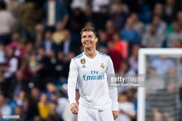 Cristiano Ronaldo of Real Madrid celebrates during the La Liga match between Real Madrid and Athletic Club at Estadio Santiago Bernabeu on April 18...