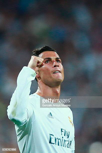 Cristiano Ronaldo of Real Madrid celebrates during the UEFA Champions League semi final second leg match between Real Madrid and Manchester City FC...
