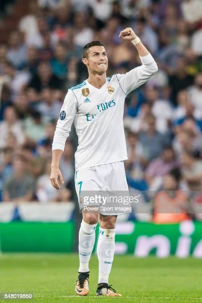 Cristiano Ronaldo of Real Madrid celebrates during the UEFA Champions League 201718 match between Real Madrid and APOEL FC at Estadio Santiago...