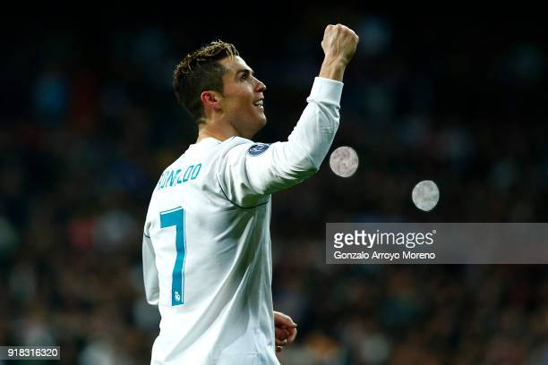 Cristiano Ronaldo of Real Madrid celebrates during the UEFA Champions League Round of 16 First Leg match between Real Madrid and Paris SaintGermain...