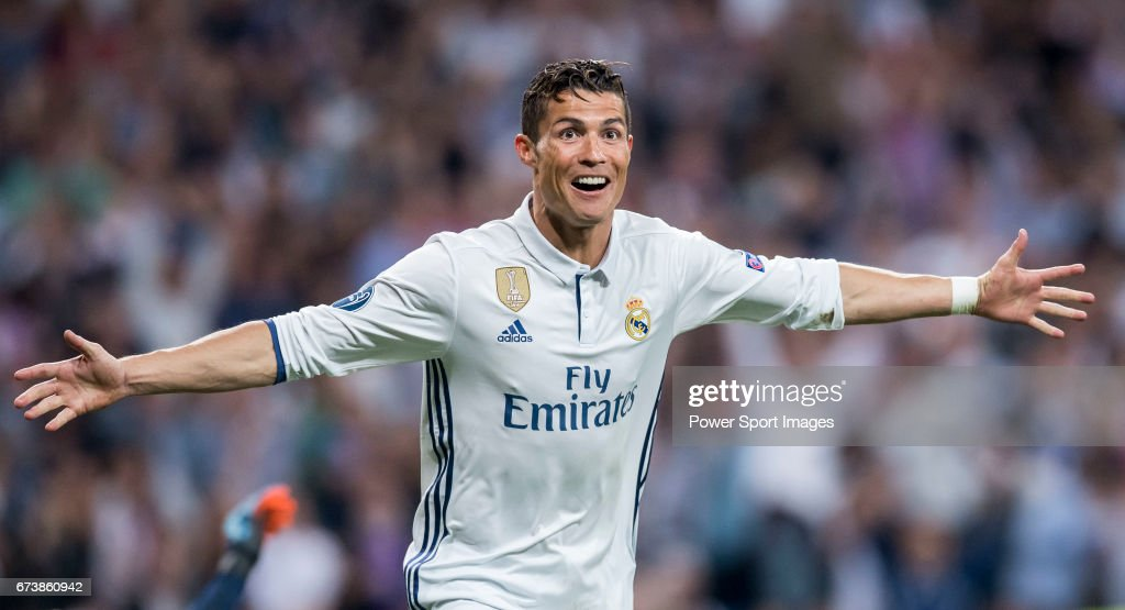 Cristiano Ronaldo of Real Madrid celebrates during their 2016-17 UEFA Champions League Quarter-finals second leg match between Real Madrid and FC Bayern Munich at the Estadio Santiago Bernabeu on 18 April 2017 in Madrid, Spain.