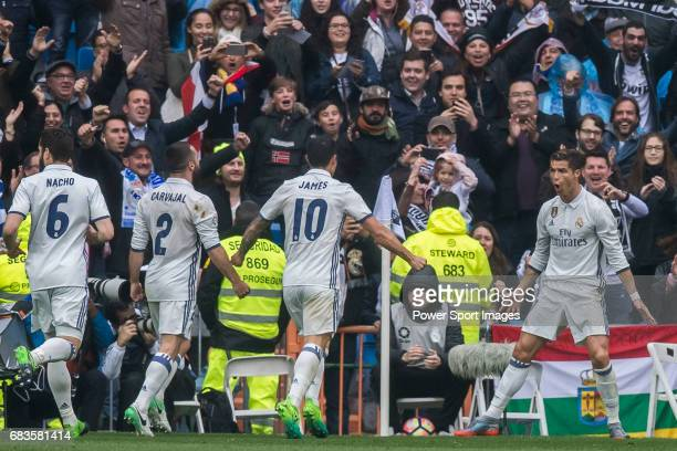 Cristiano Ronaldo of Real Madrid celebrates during their La Liga match between Real Madrid and Valencia CF at the Santiago Bernabeu Stadium on 29...
