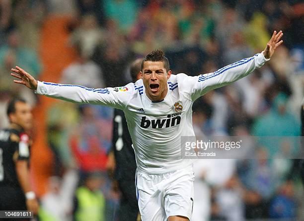 Cristiano Ronaldo of Real Madrid celebrates his first goal during the La Liga match between Real Madrid and Deportivo La Coruna at Estadio Santiago...