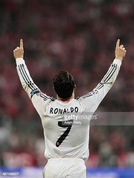 Cristiano Ronaldo of Real Madrid celebrates his first goal during the UEFA Champions League semifinal second leg match between FC Bayern Muenchen and...